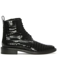 Robert Clergerie - Jacenc Black Leather Reptile Ankle Boots - Lyst