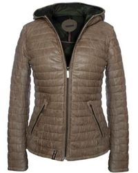Oakwood - Happy Beige Leather Hooded Jacket - Lyst