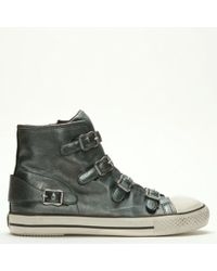 02d4cb60a6384 Ash - Virgin Bis Moon Stone Leather Buckled High Top Trainers - Lyst