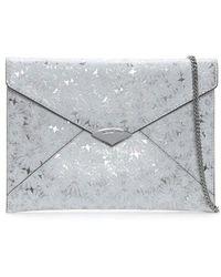 Michael Kors - Barbara Large White & Silver Metallic Floral Envelope Clu - Lyst