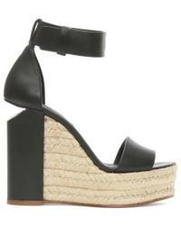 Alexander Wang - Aurora Black Leather Raffia Wedge Sandal - Lyst