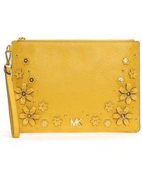 Michael Kors - Medium Top Zip Sunflower Wristlet Pouch - Lyst