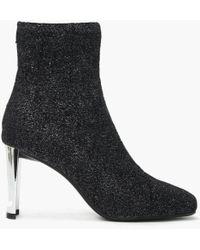 Lola Cruz - Ballmer Grey Metallic Sock Ankle Boots - Lyst