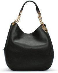 Michael Kors - Large Fulton Black Leather Shoulder Tote Bag - Lyst