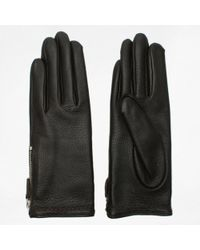 Agnelle - Araxie Brown Leather Zip Detail Gloves - Lyst