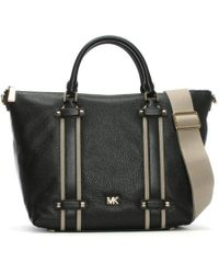 d93b02eec7 Michael Kors Pebbled Leather Griffin Large Satchel in Brown - Lyst
