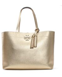 Tory Burch - Mcgraw Gold Leather Tote Bag - Lyst