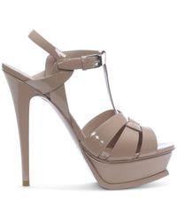 Saint Laurent - Tribute 105 Nude Patent Leather Platform Sandals - Lyst