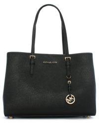Michael Kors - Black Jetset Travel Large Leather Tote Bag - Lyst