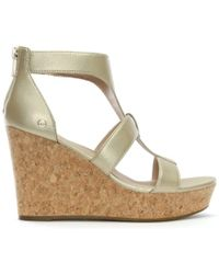UGG - Whitney Gold Metallic Wedge Sandals - Lyst