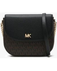 Michael Kors - Mott Half Dome Brown & Black Pebbled Leather & Logo Cross - Lyst