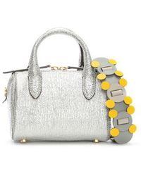 Anya Hindmarch - Circulus Mini Vere Silver Metallic Leather Barrel Bag C - Lyst