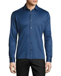 Luciano Barbera - Cotton Pique Button Sport Shirt - Lyst