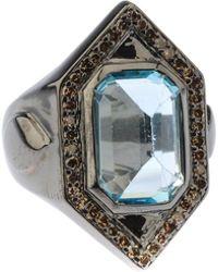 Bavna - Hexagonal Silver Ring With Blue Topaz & Diamonds Size 7 - Lyst
