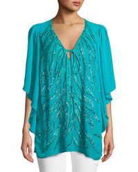Roberto Cavalli - Flutter-sleeve Embellished Tunic - Lyst