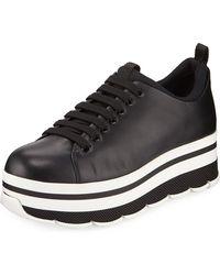 Prada - Leather Platform Low-top Sneakers - Lyst