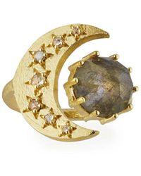 Indulgems - Celestia Labradorite Moon Ring - Lyst