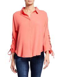 Carmen By Carmen Marc Valvo - 3/4-sleeve Lace-tie Collared Shirt - Lyst