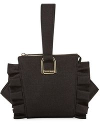 Christian Siriano Nina Ruffle Wristlet Bag - Black