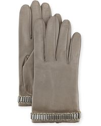 Portolano - Beaded Leather Gloves - Lyst