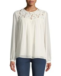 391716d740ce3 MICHAEL Michael Kors - Lace-yoked Peasant Blouse With Sequins - Lyst