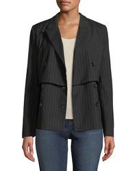 Nicole Miller - Double-breasted Pinstriped Blazer - Lyst