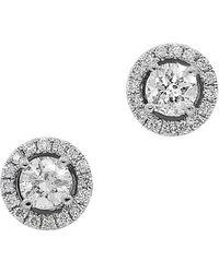 Neiman Marcus - 14k White Gold Diamond Stud Earrings - Lyst