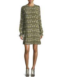 Robert Rodriguez - Pleated Floral-print Silk-chiffon Mini Dress Leaf Green - Lyst