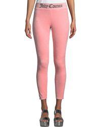 Juicy Couture - Logo-waist Stretch Velour Leggings - Lyst