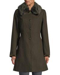 Laundry by Shelli Segal - Belted Faux-fur Collar Fit-&-flare Coat - Lyst
