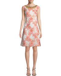 Aidan Mattox - A-line Brocade Dress W/ Jeweled Neckline - Lyst