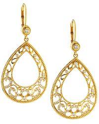 Penny Preville - Large 18k Gold Lacy Open-pear Diamond Drop Earrings - Lyst