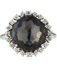 KALAN by Suzanne Kalan - 14k White Gold Round Black Quartz Ring W/ Sapphires Size 6.25 - Lyst