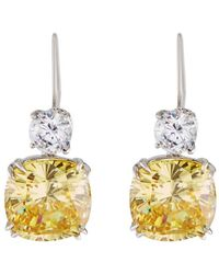 Fantasia by Deserio - Round & Cushion-cut Crystal Double-drop Earrings - Lyst