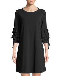b0c62fd6c4 Lyst - Neiman Marcus Cold-shoulder Linen Shift Dress in White
