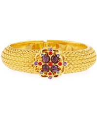 Jose & Maria Barrera - Textured Crystal Hinge Bracelet - Lyst