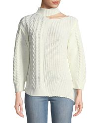 Haute Rogue - Cold-shoulder Asymmetric Cable-knit Sweater - Lyst