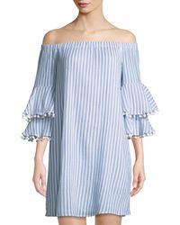Neiman Marcus - Off-the-shoulder Pompom-trim Striped Dress - Lyst