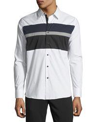Karl Lagerfeld - Men's Colorblocked Poplin Sport Shirt - Lyst