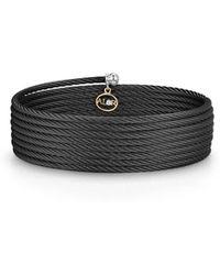 Alor - Noir Cable Wrap Bracelet W/ Diamond Charm - Lyst