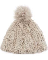 Lyst - Adrienne Landau Knit Rabbit Fur Pom-pom Hat in Black 463774e74d16
