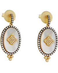 Freida Rothman - Crystal Clover Oval Drop Earrings - Lyst