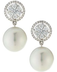 Belpearl - 18k White Gold Diamond-circle & South Sea Pearl Earrings - Lyst