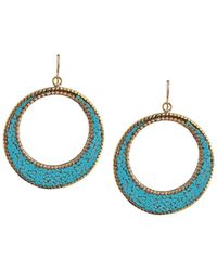 Devon Leigh - Turquoise Brass Circle Earrings - Lyst