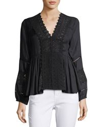 Chloe Oliver - 3/4-sleeve Lace-trim Blouse - Lyst