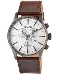 Nixon - 42mm Sentry Chrono Leather Watch - Lyst