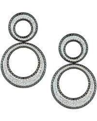 Roberto Coin - 18k White Gold Scalare Diamond Double-drop Earrings - Lyst
