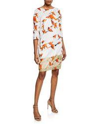 54dd3f52e0 Lyst - Akris Karminspint Print Cotton Voile Tunic Dress in Orange