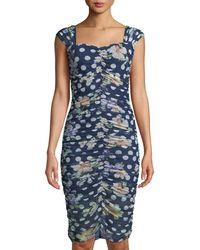 Alexia Admor - Ruched Floral/polka-dot Mesh Sheath Dress - Lyst