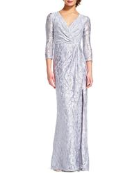 Adrianna Papell - Long-sleeve Wrap Gown In Luxe Lace - Lyst